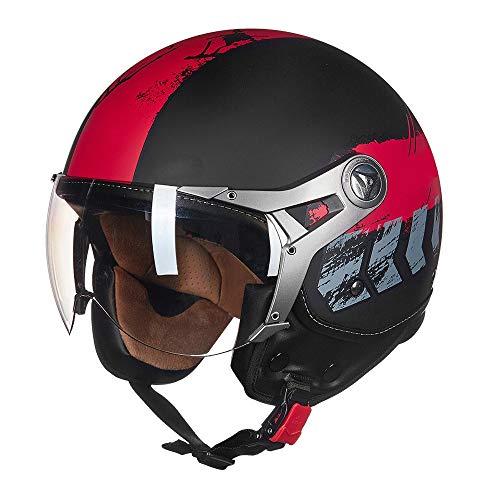 DKZK Jethelm Helm, Harley-Lokomotive Helm Chopper Prince Helm Jet Cruiser Halb Helm, ECE-Zertifizierung, Jethelm FüR MäNner/Frauen BrillenträGer Cruiser Helm