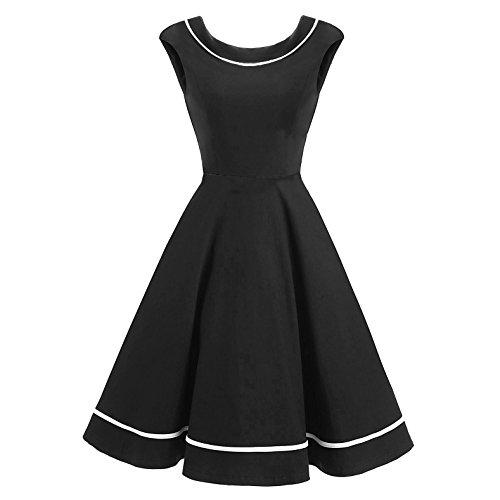 QIN&X Le donne di colore solido retrò Hepburn Polka Pinup abito Swing Black