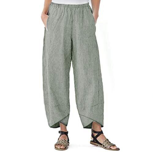 mounter- Damen-Hose, Weite Beine, hohe Elastikbund, knöchellang, Baumwolle, Leinen, lose Freizeithose Gr. Medium, grün -