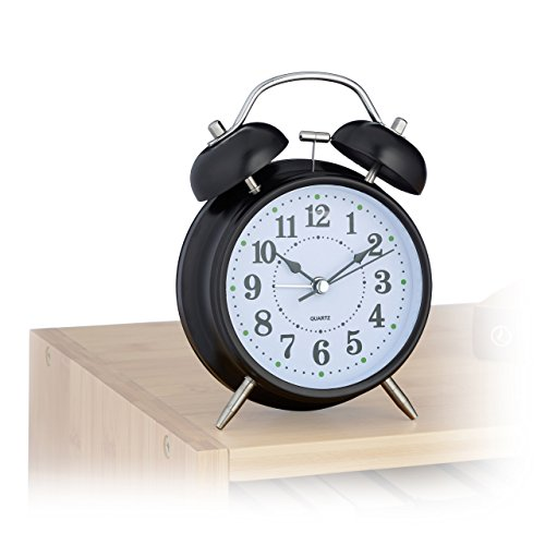 Relaxdays Retro Wecker, HxBxT: 17 x 12 x 6,5 cm, Glockenuhr, batteriebetrieben, Quarzuhr Metall, schwarz