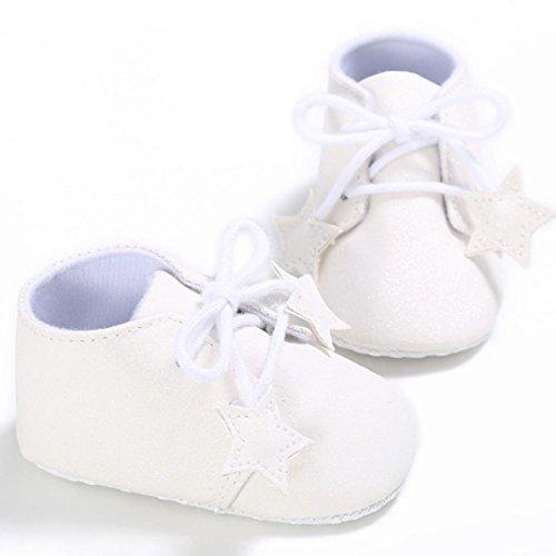 Kingko® Neugeborene Blume Soft Sole Anti-Rutsch Baby Sneakers Pailletten hohe Hilfe Sterne an Schulschuhe gebunden (0~18 Monat
