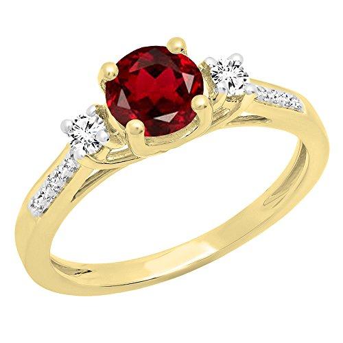 Gelbe Engagement Ringe (18K Gelb Gold 6mm Rund Granat, weiß Saphir und Diamant Braut Engagement Ring (Größe 5,5))