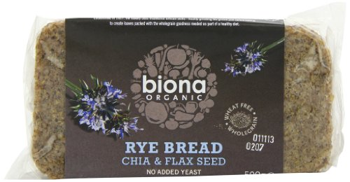 Biona Organic Rye, Chia and Flaxseed Bread 500g (Pack of 6)