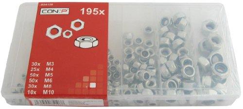 CON:P B34158 Sortimentskasten Sicherungsmuttern, 195-teilig