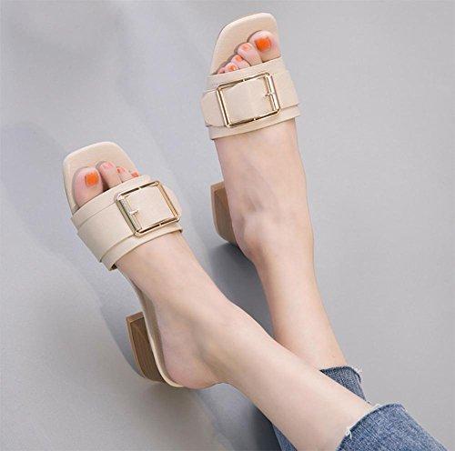 Im Sommer Sandalen mit dick mit weiblichen Drag Pantoffeln weibliches Waichuan Wort meters white