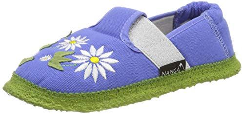 Nanga Mädchen Blumenfeld Niedrige Hausschuhe, Blau (Himmelblau 39), 34 EU