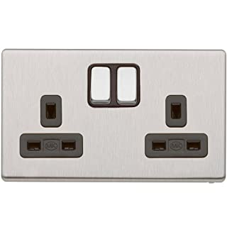 MK Aspect K24347 BSS B 13A Dual Earth Double Switched Socket 2-Gang Brushed Stainless Steel with Double Pole
