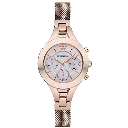 Emporio Armani Women's Quartz Watch with Mother of Pearl Dial Chronograph Display and Rose Gold Stainless Steel Bracelet AR7391
