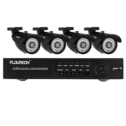 Floureon® Kit CCTV DVR Sorveglianza System – 1 X 8CH 960H/D1 DVR + 4 X Outdoor 1200TVL HDMI Sicurezza Camera (Hard Drive non Incluso)