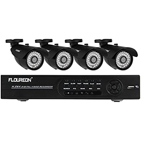 FLOUREON® 1X8CH Completa 960H CCTV DVR+4XOutdoor 1200TVL