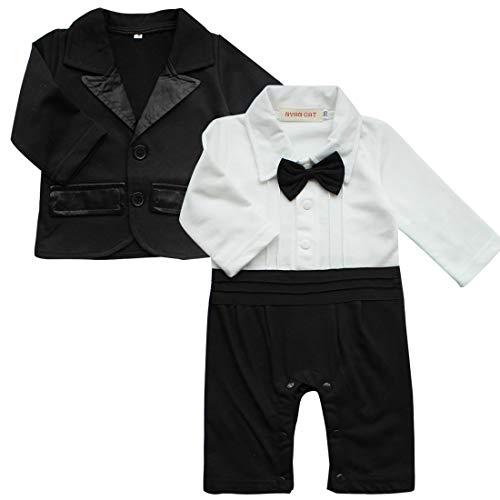 IEFIEL Traje para Bebé Niño Camisa Pelele + Chaquete Ropa Algodón de Manga Larga Traje de Boda Bautizo Fiesta Recien Nacido Blanco y Negro 0-3 Meses