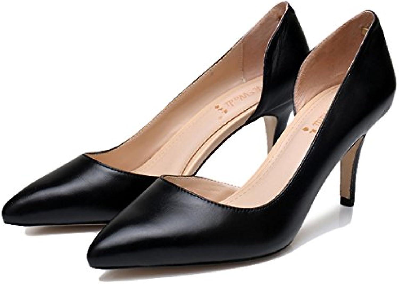 WKNBEU Damen Spitzschuh Schwarz Leder Arbeit Büro Formale Stiletto High Heel Slip-on Schuhe Für Die Dame
