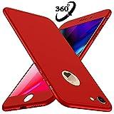 Losvick Coque iPhone 8 Housse PC Matière [Film de Verre trempé][360 degrés Protection] 3 en 1 Ultra Étui Mince Matte Case Anti Choc, Bumper Simple Élégant Cover pour iPhone 8-4.7' - Rouge