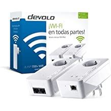 devolo dLAN 550+ WiFi - Kit de adaptadores para red PLC Powerline (500 Mbps, 2 x adaptores Powerline, 1 x puerto LAN, repetidor WiFi, amplificador de señal WiFi, WiFi Move, range+), blanco