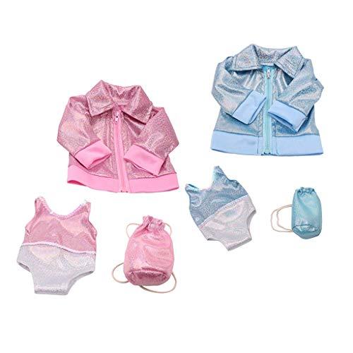 SM SunniMix 4pcs Puppe Sommerkleid Unterhose Für 18 Zoll Puppen, Mode Mädchen Puppenkleidung Und Accessoires, Pink & Blue & White Farbe