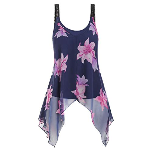 2 Stück Satin-bikini (MRULIC 2 Stück Damen Tank Tops Übergröße Mode Frauen Floral Bedruckte ärmellose Camis Weste Tops Bluse Sommer Chiffon Crops(A-Marineblau,EU-46/CN-3XL))