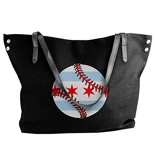 shuangshao liu shliu-1 Schultertasche Bag Chicago Flag Baseball Canvas Schultertasche Bag HandbagDaily For Women's Black