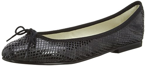 French Sole India Snake, Closed Toe Ballet Flat femme Noir (Black)