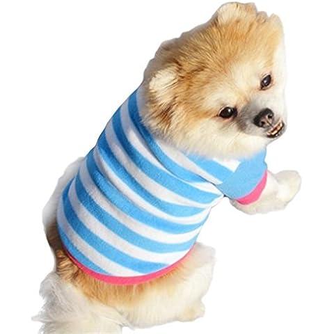 Tongshi Ropa de perro del animal doméstico ropa de invierno de forro Polar suave engrosamiento raya
