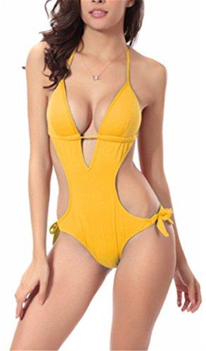 Damen Elegant Einteilige Neckholder Swimwear Badeanzüge Triangel Hipster Bustier Strand Push Up Figurformend Gurt Schlank Bademode Tankini Gelb