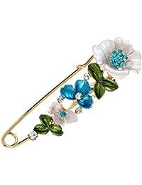 OULII Broche de flores para mujer elegante broche para disfraz de boda (azul)