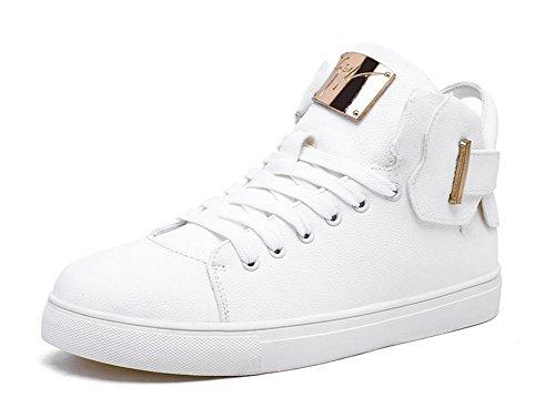 GLSHI Uomini Sneaker Scarpe Casual Scarpe Scarpe Migliori Skateboard Scarpe Hip-Hop per Giovani Scarpe da Ginnastica in Metallo (Colore : Bianca, Dimensione : 41)