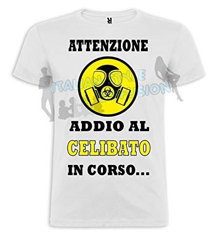 Generico t-shirt stampa personalizzata maglietta attenzione addio al celibato in corso (m)