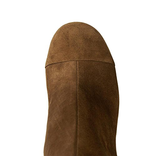Donna caviglia stivali ruvido alto tacco scarpe tondo testa comodo scamosciato nero marrone primavera autunno inverno Brown