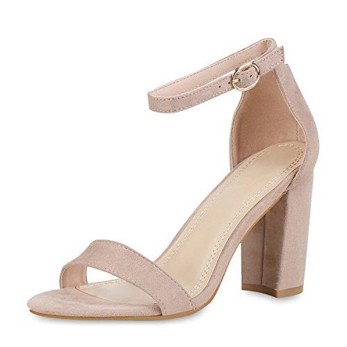 SCARPE VITA Damen Riemchensandaletten High Heels Sandaletten Basic Party Schuhe Wildleder-Optik Absatzschuhe Abendschuhe 160808 Creme 40