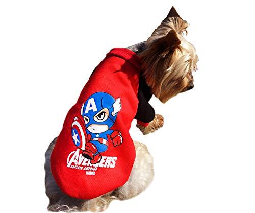 Schwarz Rot Blau Haustier Hund Kleidung Für Kleine Hunde Katze Pullover Hoody The Avengers Super Hero Captain America Halloween Marvel S (Hero Halloween-super Kostüme)