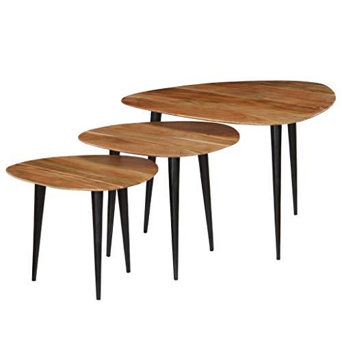 Festnight- Tables gigognes Table Basse 3pcs Table de Salon Table Basse Design en Bois Massif