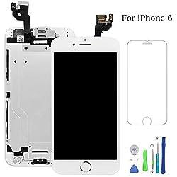 Ecran LCD Vitre Tactile Complet sur Châssis pour iPhone 6 Blanc avec Outils Bouton Home Écouteur Interne Caméra De Face Tout Assemblé
