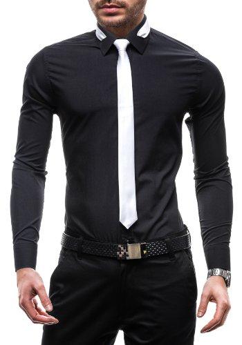 Bolf camicia – con una cravatta - a manica lunga – slim fit – classica - da uomo bolf 4714-1 nera xl [2b2]