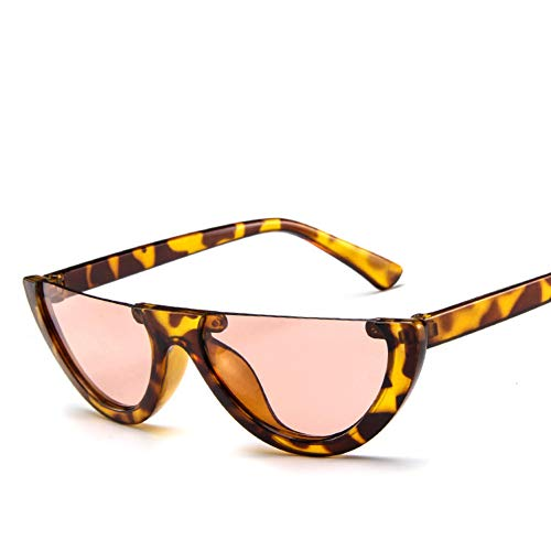GJYANJING Sonnenbrille Einzigartige Halbe Rahmen Frauen Cat Eye Sonnenbrillen Marke Designer Mode Damen Pink Tint/Clear Lens Shades