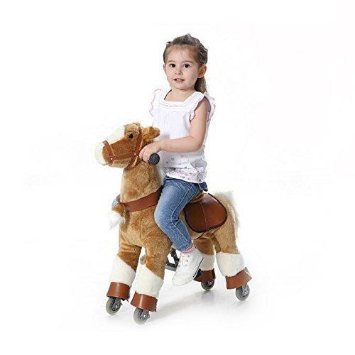Wisamic Reitpferd auf Rollen, 72cm Spielpferd Pony auf Rollen fahrendes Schaukelpferd und Kuscheltier für Ihr - Größe Erwachsene Schaukelpferd