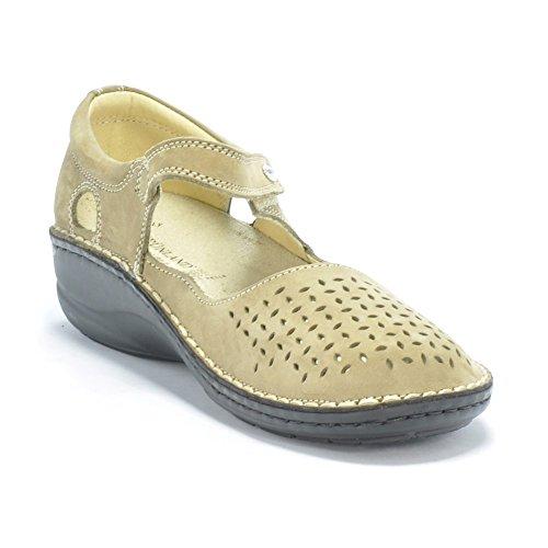 Grünland INES SC1400 taupe femme chaussures confort sangle déchirure ballerine Beige