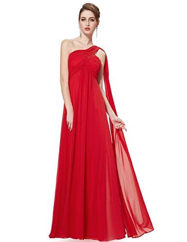Ever Pretty Damen Lange One Shoulder Chiffon Abendkleider Festkleider Größe 42 Rot