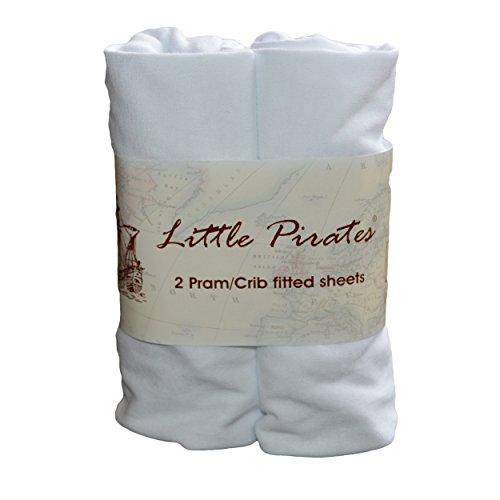 Little Pirates Spannbetttuch für Babybett, 100% Baumwolle, Jerseystoff, 40x80cm, Weiß, 2Stück