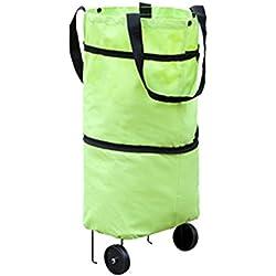 Nibesser Sac à Bandoulière Réutilisable Panier de Panier Pliable à roulettes Porteur de Supermarché Accessoires pour Ménage (Vert)