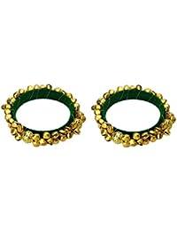 FashBlush Green Handmade Ethnic Ghungroo Bangle Set Size 2.6 (Set Of 2)