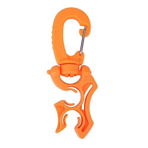 Alomejor Tauchschlauch Clip Halter Premium Kunststoff 2 Schläuche Verstellbar Stabil Geeignet für Schnorcheln(Orange)