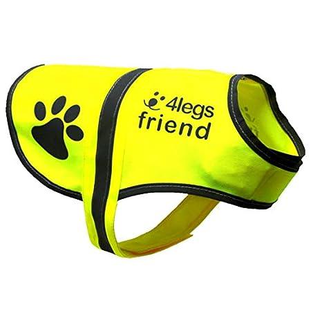 4LegsFriend Hunde Sicherheitsweste mit Leinenbefestigungsring 5 Größen – Hohe Sichtbarkeit für Outdoor Aktivitäten Tag und Nacht, Hält den Hund Sichtbar, Sicher vor Autos und Jagtunfällen