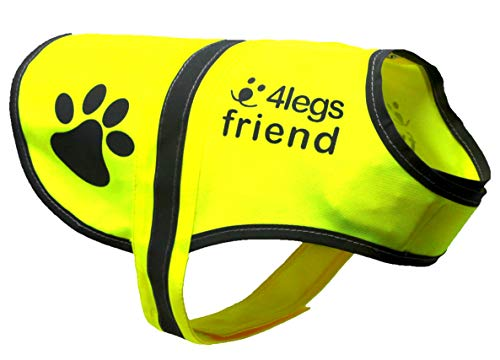 4LegsFriend Hunde Sicherheitsweste mit Leinenbefestigungsring 5 Größen - Hohe Sichtbarkeit für Outdoor Aktivitäten Tag und Nacht, Hält den Hund Sichtbar, Sicher vor Autos und Jagtunfällen