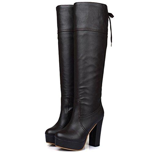 COOLCEPT Damen Jugend Trend einfachen Schuhen mit hohen Absätzen kniehohe  sexy Stiefel Braun ...