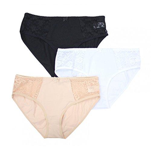 Alkato Damen Slips mit Spitze Unterhosen Baumwolle Schlüpfer Midi-Slip Schwarz Weiß Beige im 3er Pack, Farbe: Farbenmix, Größe: XL