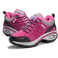 Cojín de Aire para Mujer Zapatos para Correr Peso Ligero Transpirable Suela Gruesa Algodón Acolchado Calientes Calzado Invierno otoño Calzado Deportivo - Rosa roja 37
