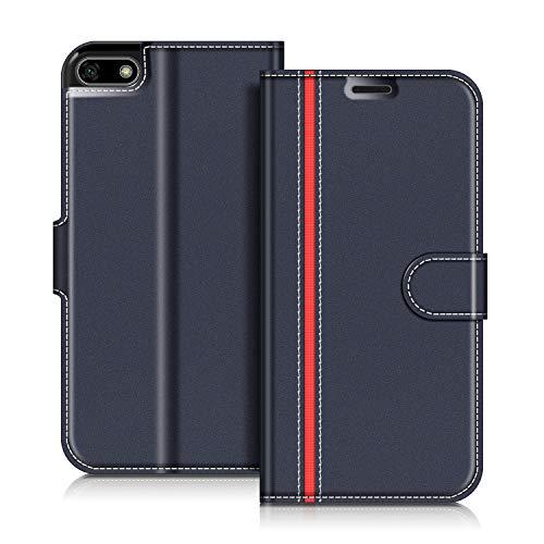 COODIO Huawei Y5 2018 Hülle Leder, Honor 7S Lederhülle Ledertasche Wallet Handyhülle Tasche Schutzhülle mit Magnetverschluss/Kartenfächer für Huawei Y5 2018 / Honor 7S, Dunkel Blau/Rot