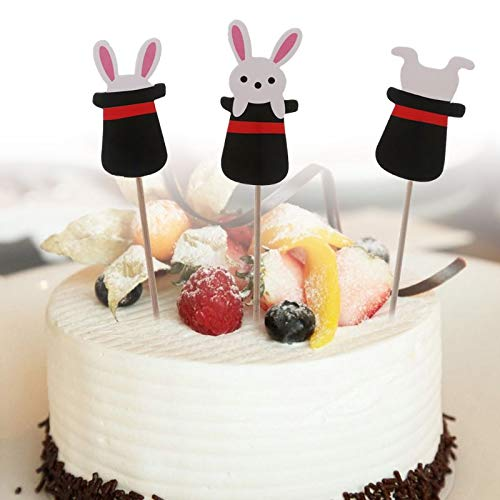 Cake Decorating Supplies - 12pcs Magic Hat Rabbit Bunny Cupcake Cake Pers Picks Flag Easter Party Decor Decoration - Tick Plates Pearls Rotating Organizer Spatula Pieces Dinosaur Storag Easter Bunny Cake Pan