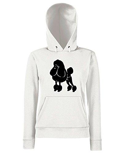 T-Shirtshock - Sweats a capuche Femme FUN0313 15r poodle dog decal 75598 Blanc