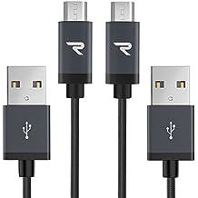 Rampow RAMPOWMIC07, Cavo Micro USB a USB, Tessuto in Nylon Intrecciato da 1m, Grigio siderale, Confezione da 2